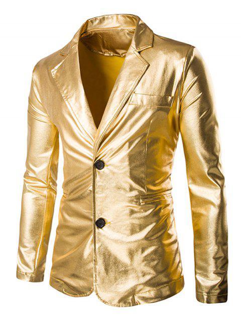 Solid Color Metallic-Revers Langarm-Einreiher Blazer für Männer - Golden M Mobile