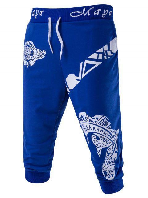 unique Abstract Printed Lace-Up Shorts Men Clothes - BLUE M Mobile