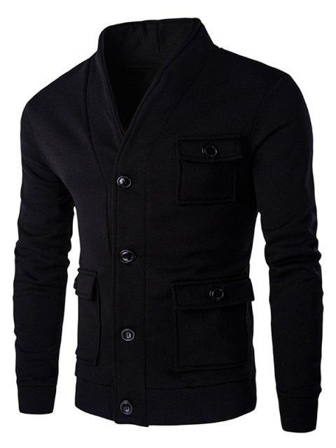 Veste en Couleur Unie à Boutons avec Poches à Rabat pour Homme - Noir M Mobile