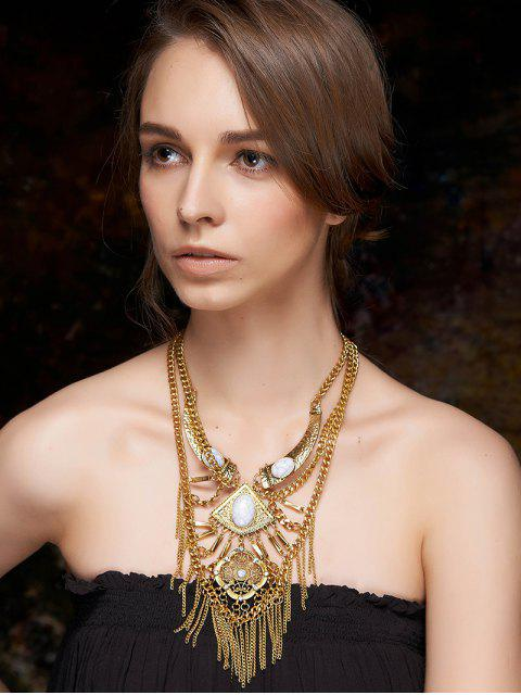 womens Fringed Layered Statement Necklace - GOLDEN  Mobile
