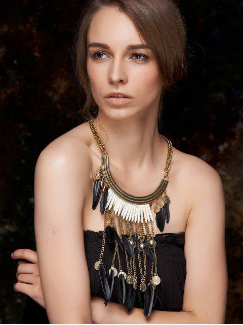 ladies Long Feather Fringe Necklace - BLACK  Mobile