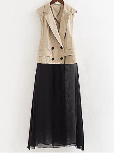 lady Chiffon Spliced Lapel Collar Color Block Waistcoat - LIGHT KHAKI M Mobile