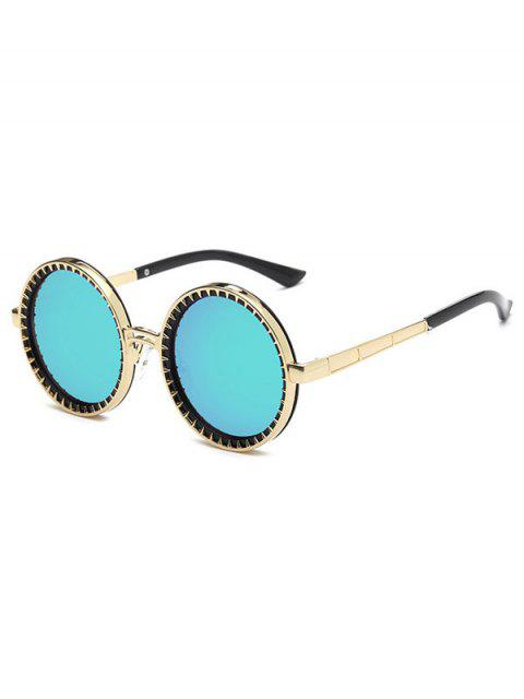latest Vintage Round Mirrored Sunglasses - GREEN  Mobile