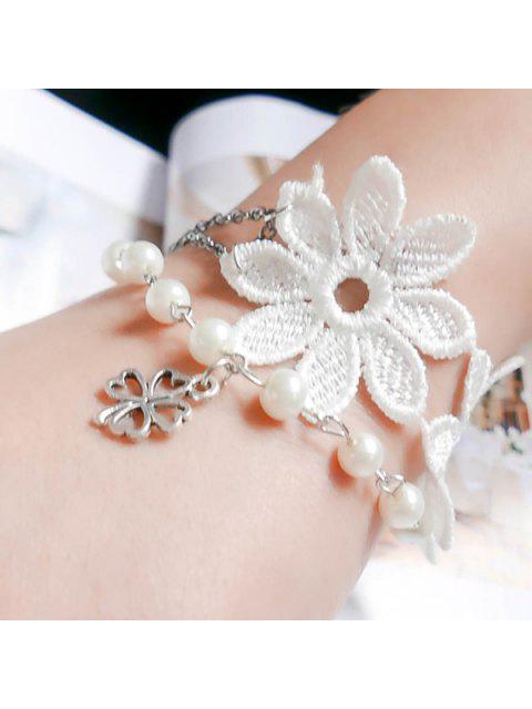shops Faux Pearl Blossom Heart Bracelet - WHITE  Mobile