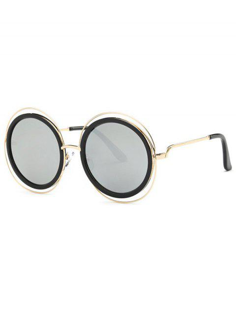 online Cut Out Round Mirrored Sunglasses - SILVER  Mobile