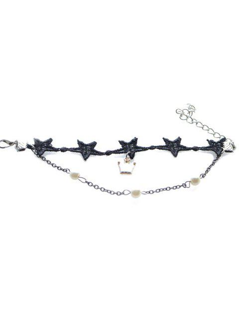 buy Vintage Faux Pearl Crown Star Bracelet For Women - BLACK  Mobile