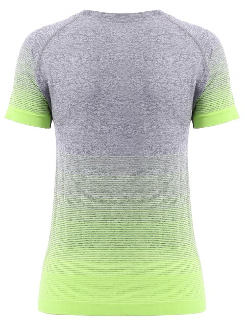 best Ombre Color Running T-Shirt - APPLE GREEN L Mobile