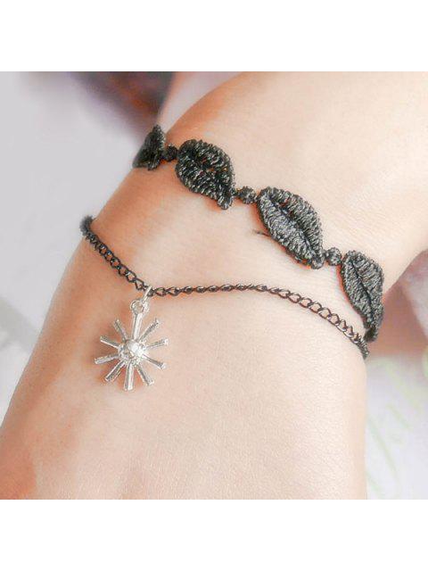 lady Woven Leaf Blossom Bracelet - BLACK  Mobile