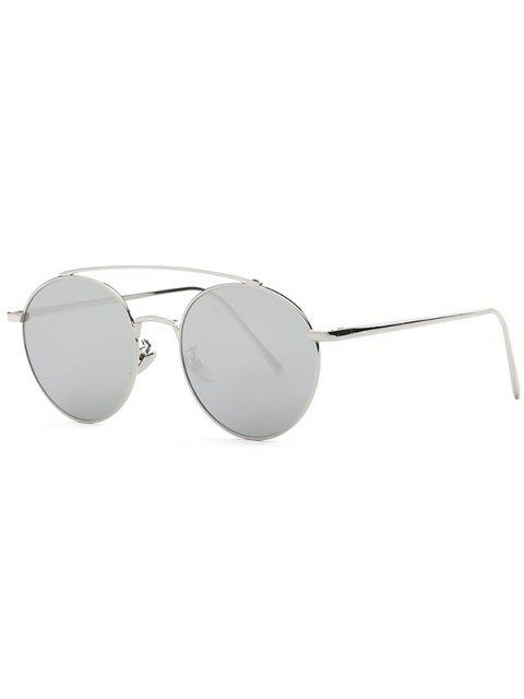 fancy Metal Frame Mirrored Sunglasses - SILVER  Mobile