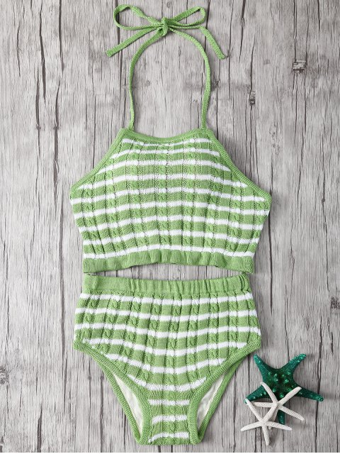 buy Halter Striped High Waisted Bikini - LIGHT GREEN ONE SIZE(FIT SIZE XS TO M) Mobile