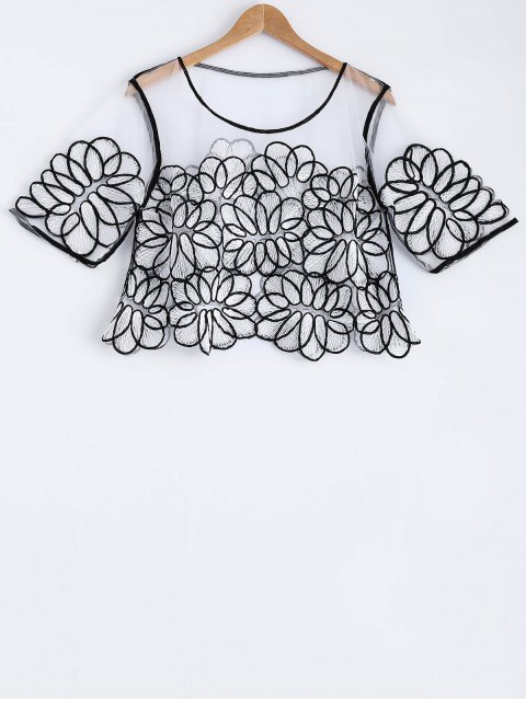 new Embroidery Round Neck Half Sleeve Lace T-Shirt - BLACK ONE SIZE(FIT SIZE XS TO M) Mobile