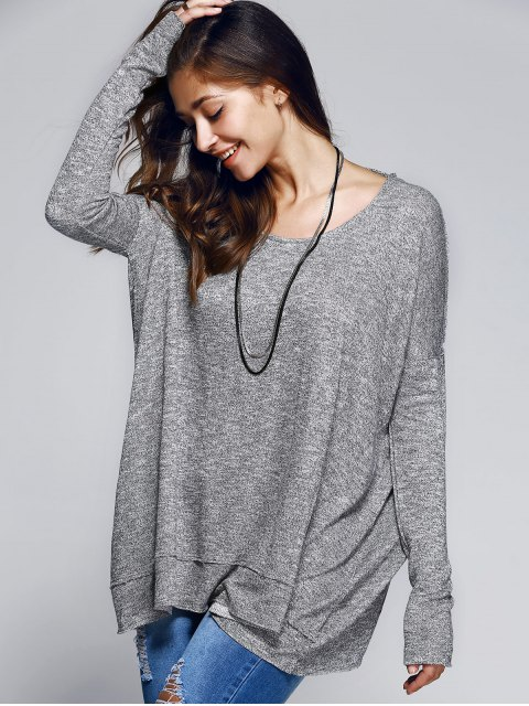 women's Back Cutout Round Neck Long Sleeve T-Shirt - GRAY S Mobile