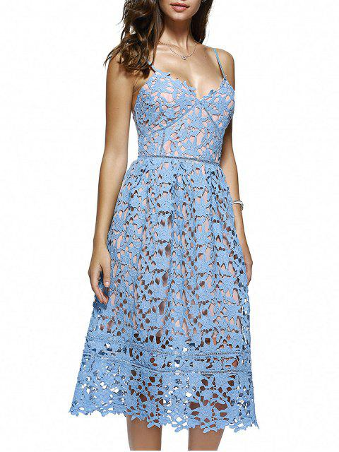 womens Cami Crochet Flower Midi Dress - AZURE S Mobile
