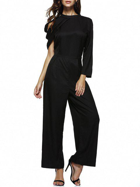 fashion Strappy One Shoulder Wide Leg Jumpsuit - BLACK XL Mobile