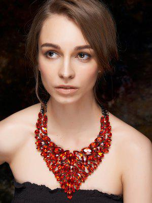 Faux Ruby Layered Necklace - Red