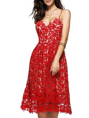 Cami Crochet Flower Midi Dress - Red S