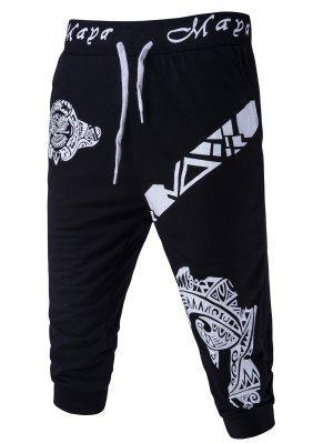 Abstrakt gedruckt Solid Color Lace-Up Shorts für Männer