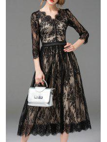 فستان دانتيل ماكسي بخط A - أسود L