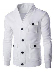 Botón Del Color Sólido Hasta Bolsillos La Camiseta De Manga Larga Para Los Hombres - Blanco L