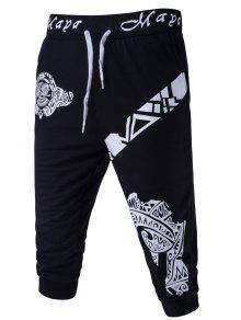 Resumen Impreso De Color Sólido De Encaje Hasta Pantalones Cortos Para Los Hombres - Negro M