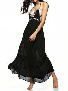 Halter Ruffles Backless Embroidery Long Dress - Black M