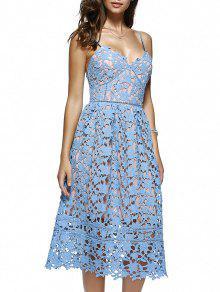 تنورة  طويلة متوسطة بالرجل بنسيج محبوك  الزهور  - أزرق سماوي M