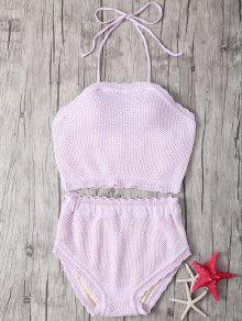 Crochet Halter High Waisted Bathing Suit - Shallow Pink