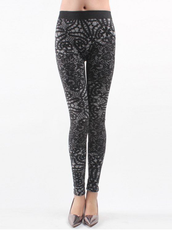 womens Printed Knitted Leggings For Women - BLACK ONE SIZE