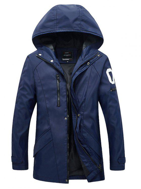 outfit Zippered Snap Button Hooded Coat For Men - BLUE L
