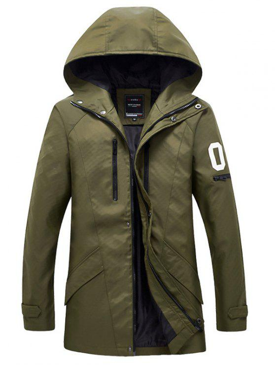 shop Zippered Snap Button Hooded Coat For Men - ARMY GREEN 5XL