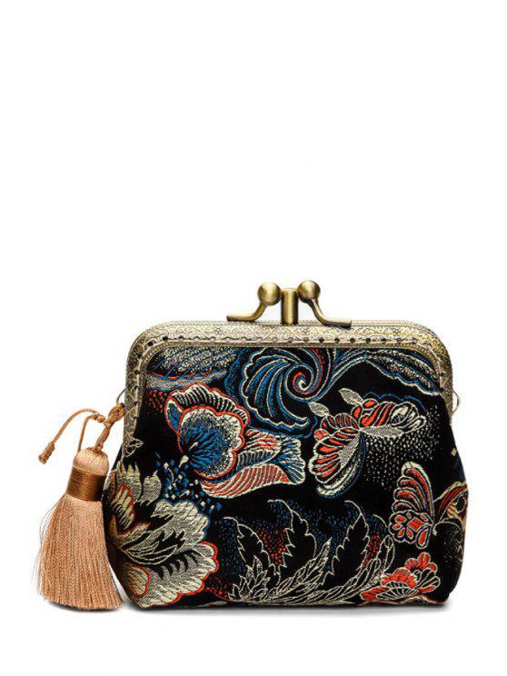 محفظة نقود مزينة بفراشات - أسود