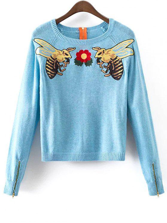 Suéter bordado abeja de la miel - Azul Claro M