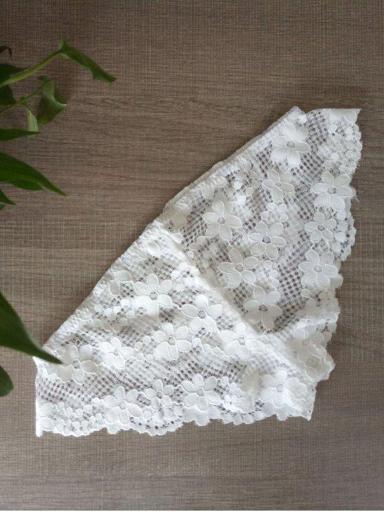 sale Solid Color Lace Hook Panties - WHITE L