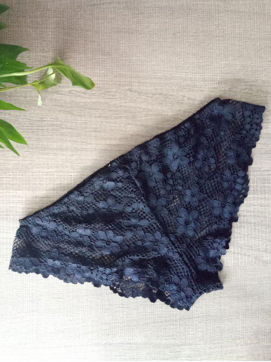 womens Solid Color Lace Hook Panties - BLACK L
