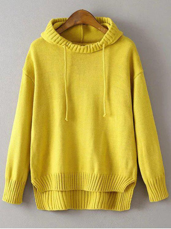 chic Hooded Uneven Hem Sweater - YELLOW ONE SIZE