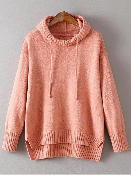 fancy Hooded Uneven Hem Sweater - ORANGEPINK ONE SIZE