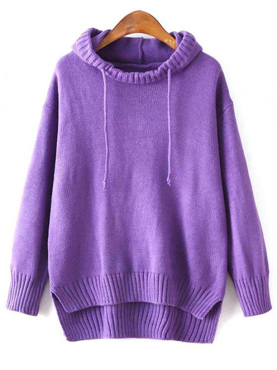 sale Hooded Uneven Hem Sweater - PURPLE ONE SIZE