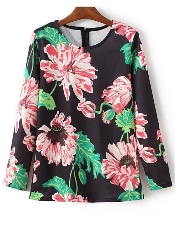 new Round Neck Floral Print Sweatshirt - BLACK M