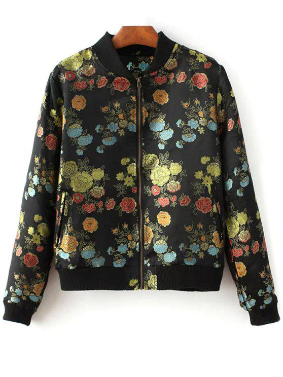 sale Flower Embroidery Zippered Bomber Jacket - BLACK M