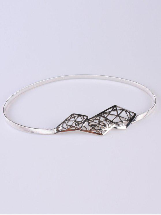 buy Cut Out Geometry Elastic Waist Belt - SILVER