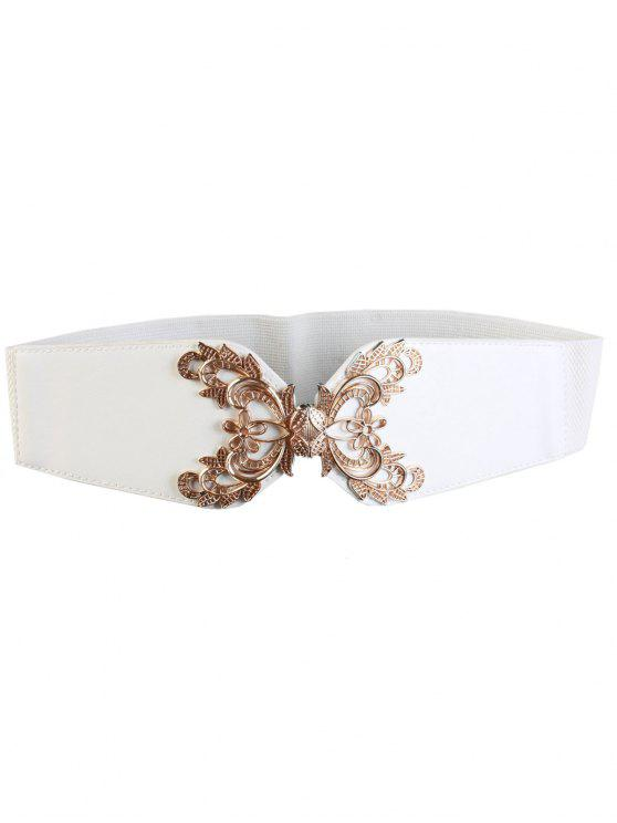 lady Flower Carve Wide Elastic Belt - WHITE