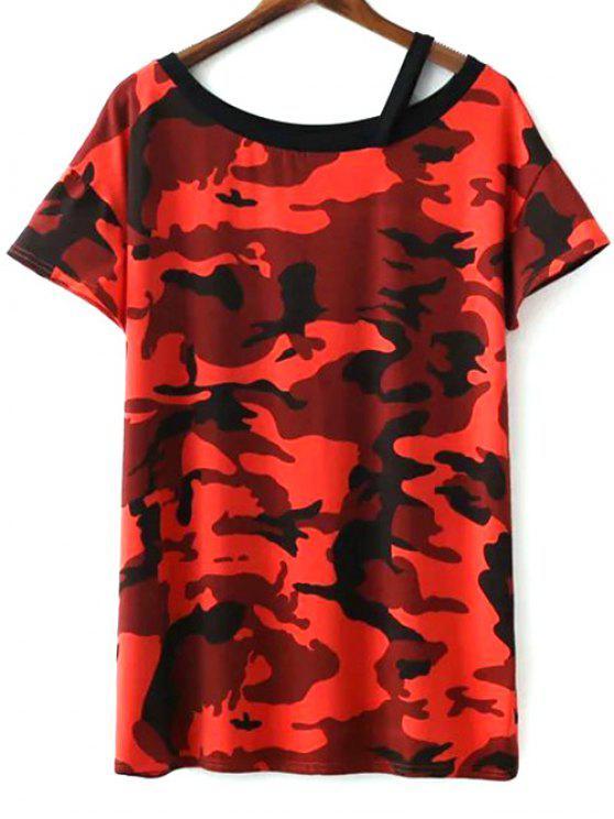 chic Camo Print Round Neck Short Sleeve T-Shirt Dress - JACINTH ONE SIZE