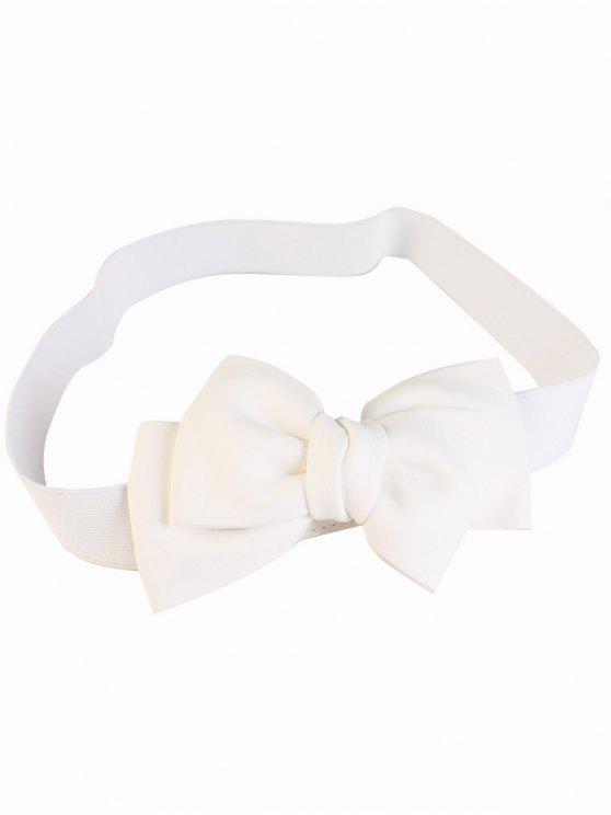online Big Bowknot Wide Elastic Belt - WHITE
