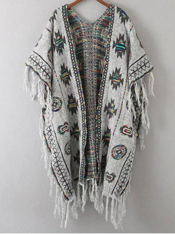 hot Abstract Print Tassels Spliced Cape Cardigan - GRAY ONE SIZE