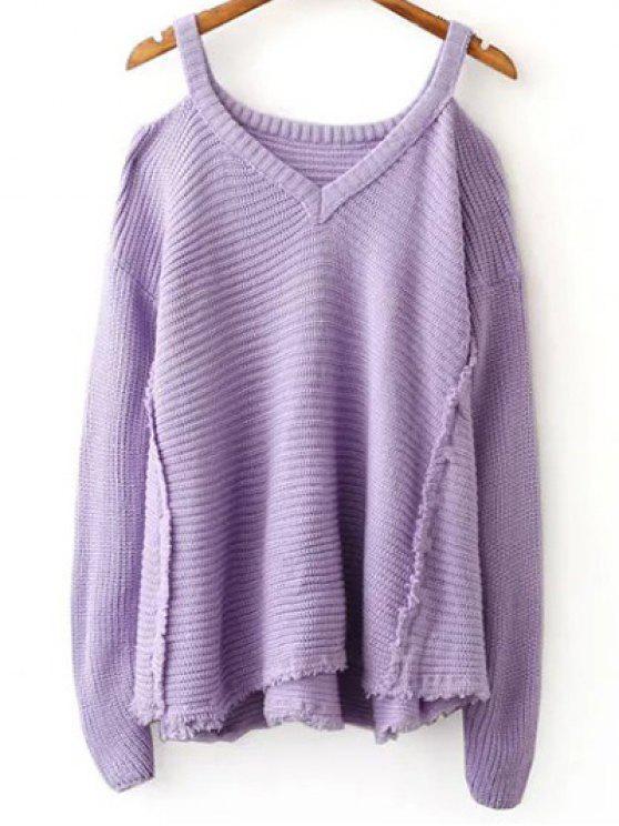 Suéter del color del hombro cuello en V fría sólida - Morado Claro Única Talla