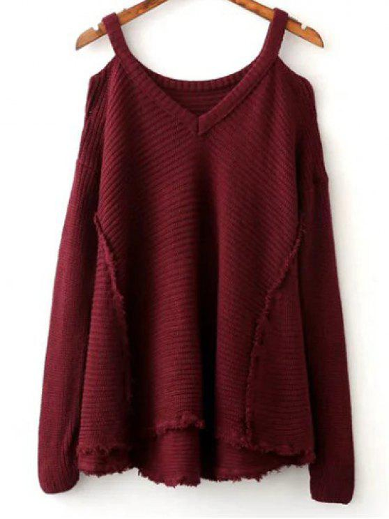 unique Distressed Cold Shoulder Sweater - WINE RED ONE SIZE