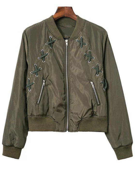 sale Lace Up Stand Neck Zipper Jacket - ARMY GREEN S