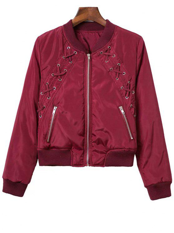 Lace Up Stand Neck Zipper Jacket - Rouge vineux  L