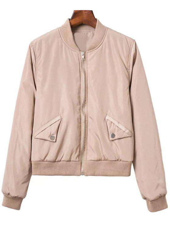 shops Button Embellished Solid Color Stand Neck Zipper Jacket - KHAKI S