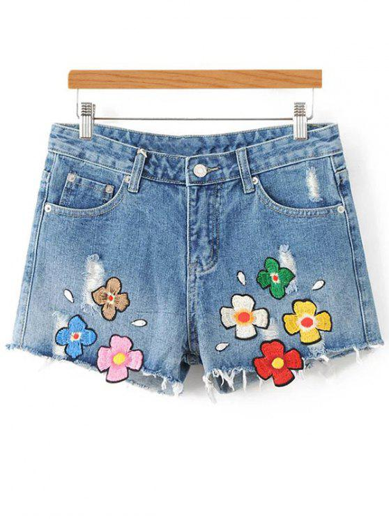 shop Applique Floral Embroidery Ripped Denim Shorts - LIGHT BLUE L